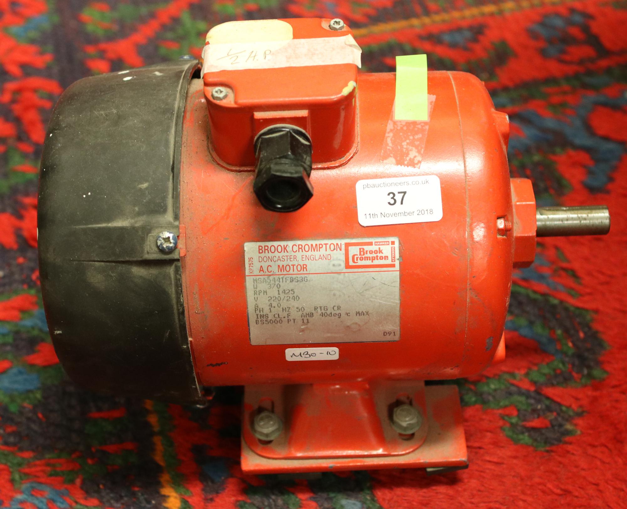 Lot 37 - A Brook Crompton 220 volt induction electric motor.