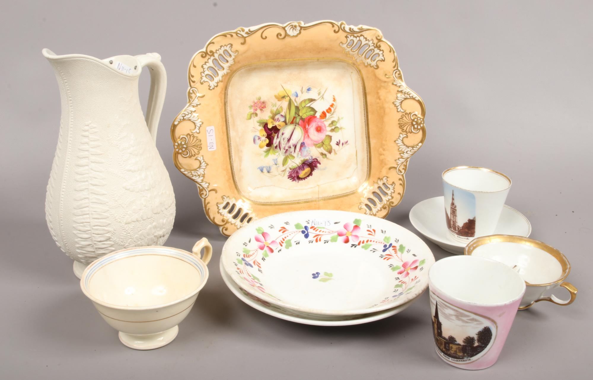 Lot 55 - A quantity of mostly 19th century ceramics including a white stoneware jug, porcelain crested