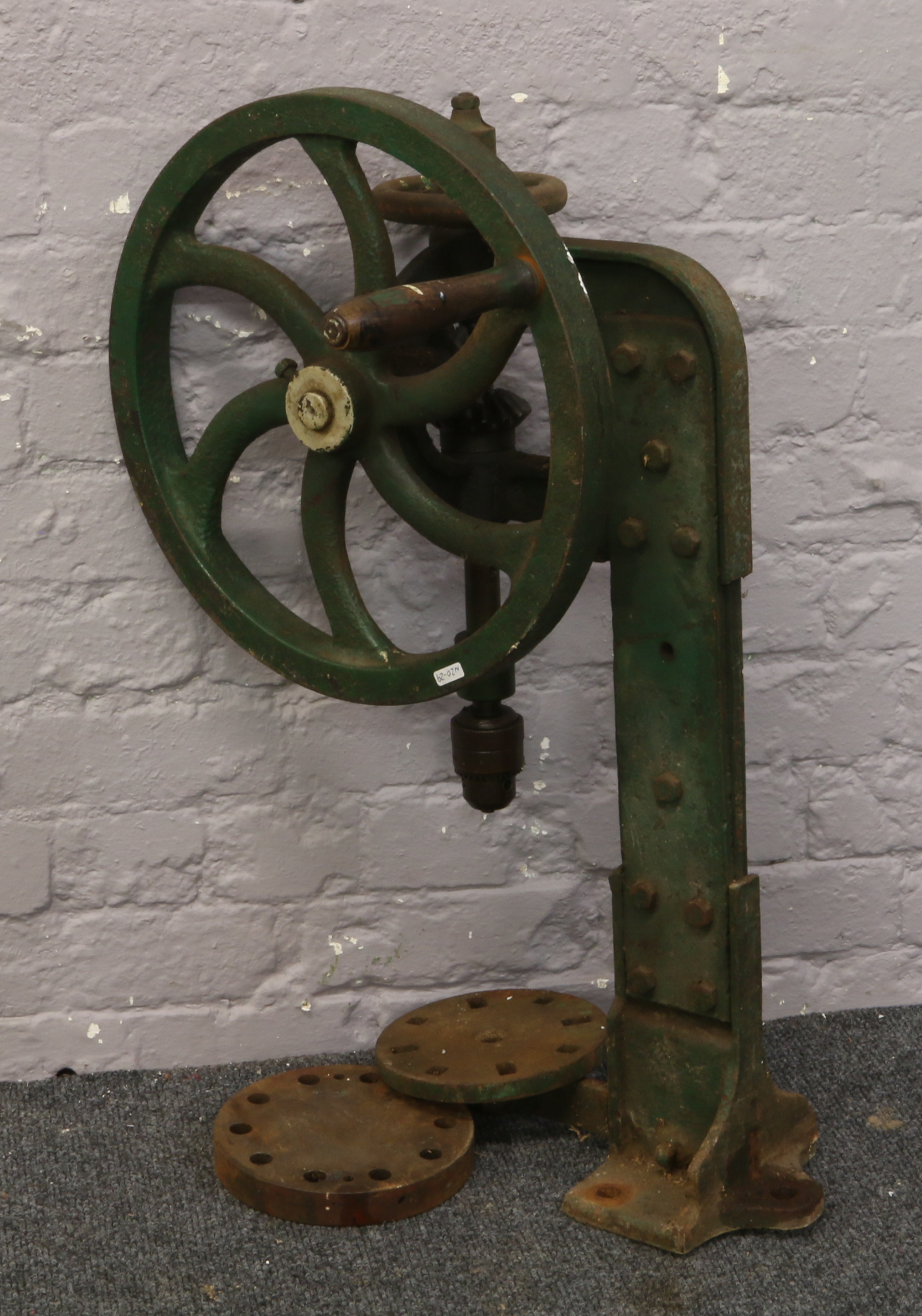 Lot 38 - A cast iron hand crank pillar drill.