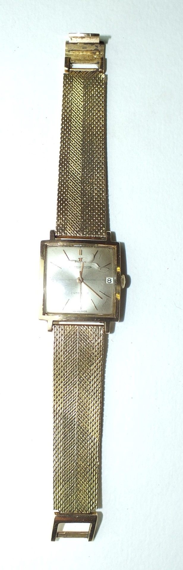 Lot 234 - Jaeger LeCoultre, a gentleman's square-faced automatic wrist watch, the silvered dial with baton