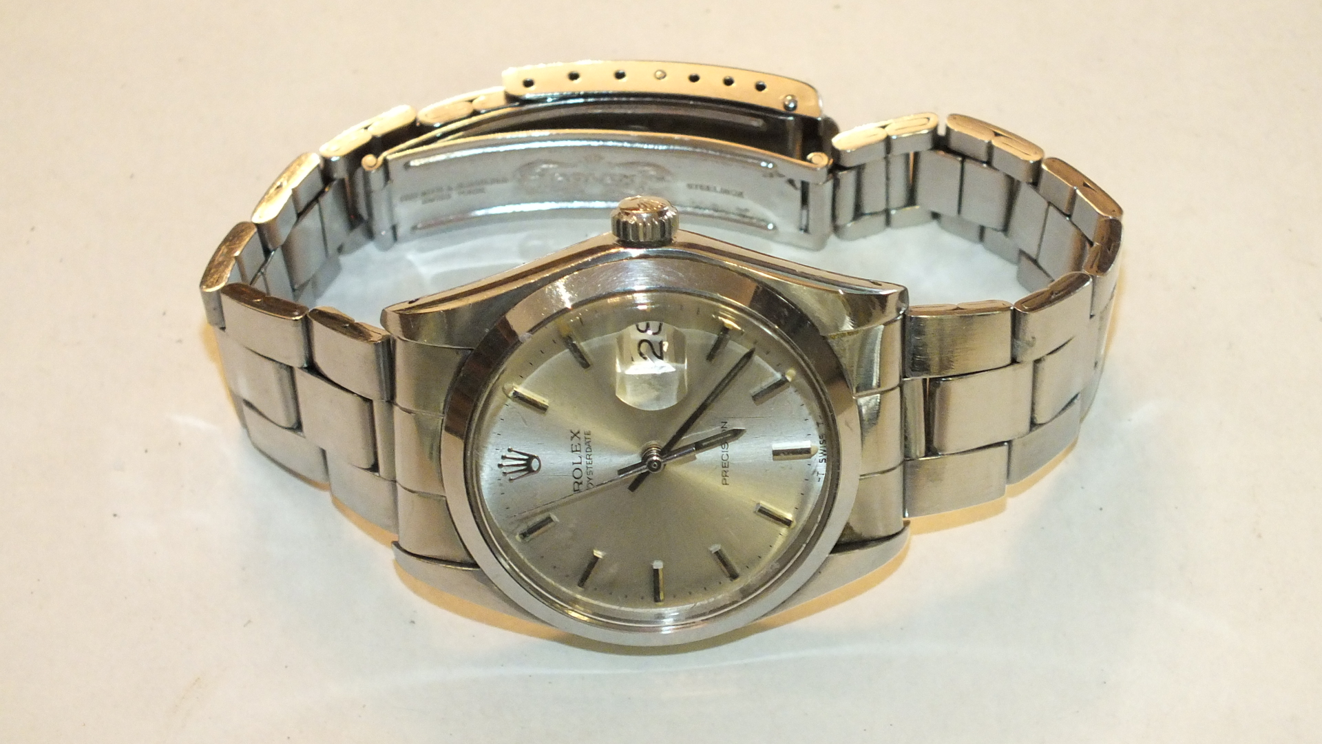 Lot 274 - Rolex, Oysterdate Precision stainless steel wrist watch c1972/3, the circular dial with baton