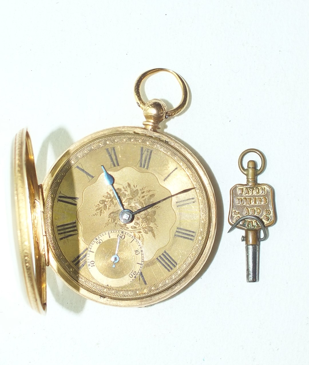 Lot 261 - A gentleman's 18ct-gold-cased open-face key-wind pocket watch, the engraved gilt face with Roman
