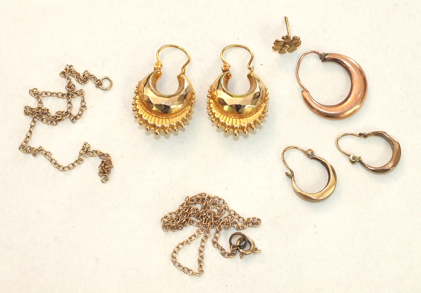 A pair of Creole-style 9ct gold earrings and other 9ct gold jewellery, 5.8g.