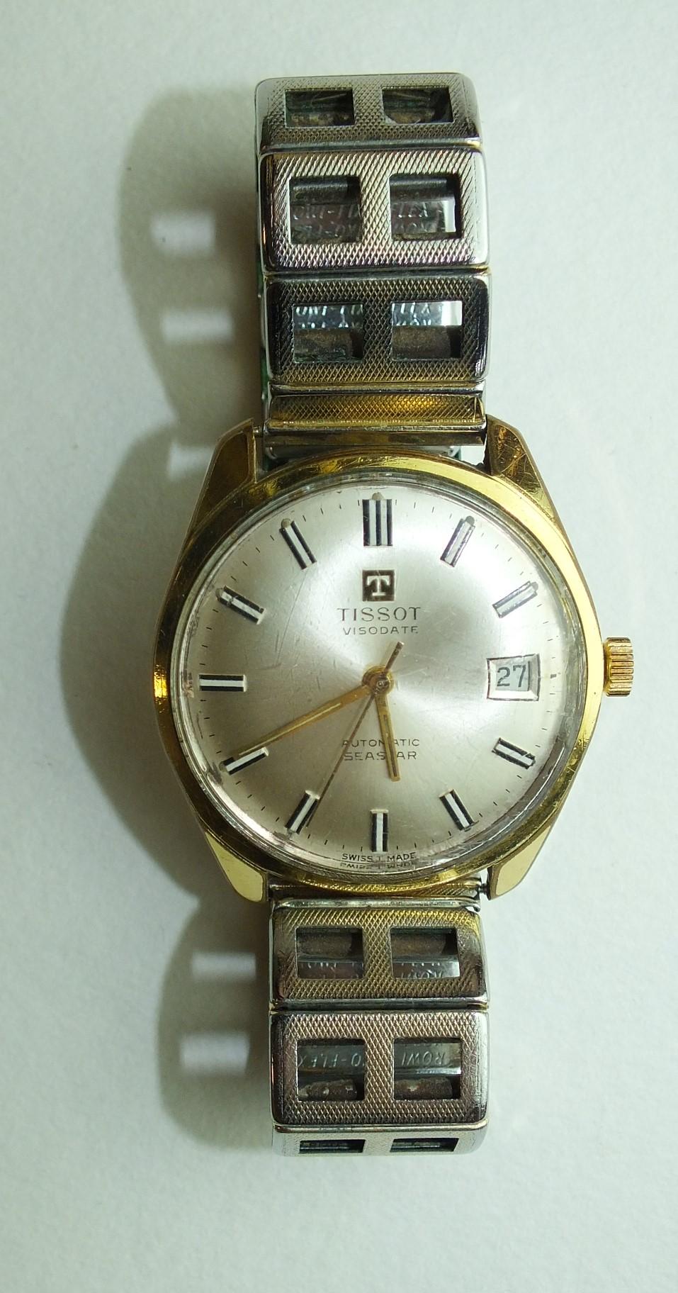 Lot 269 - Tissot, a gentleman's Visodate Automatic Seastar gold-plated wrist watch, on plated bracelet.