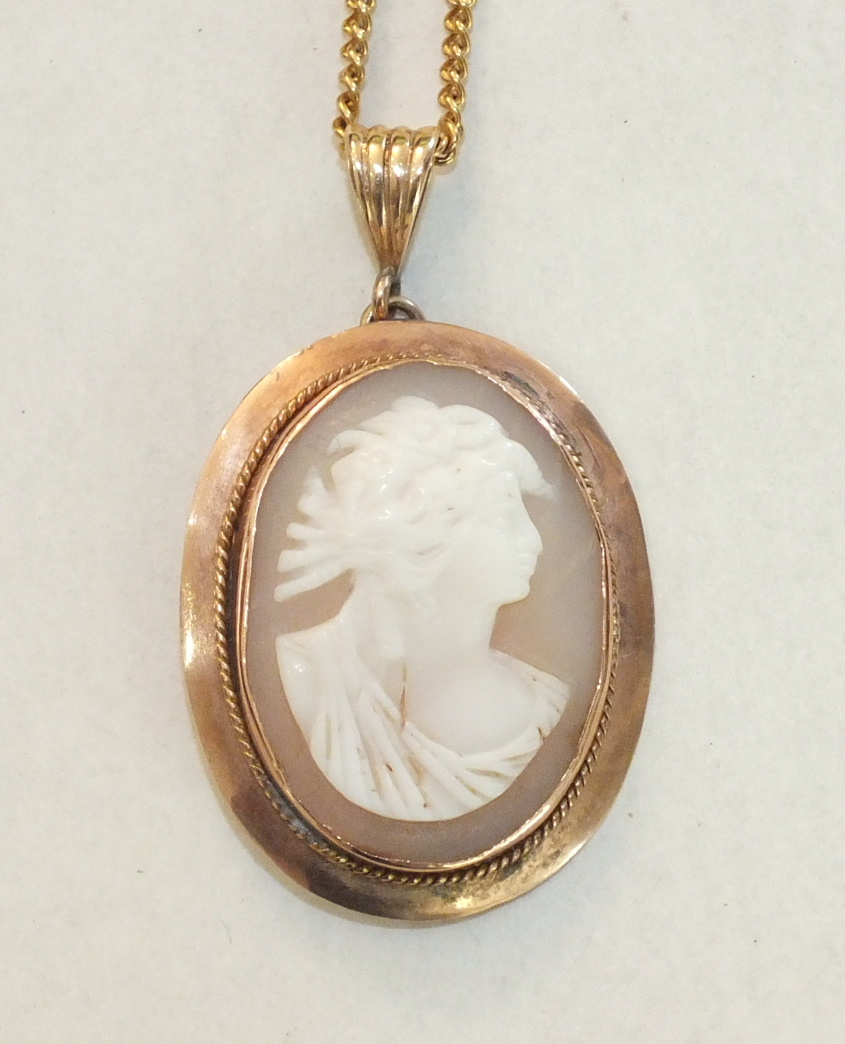 An oval shell cameo pendant with 9ct gold mount, on 9ct gold curb-link chain, gross weight 8.6g.