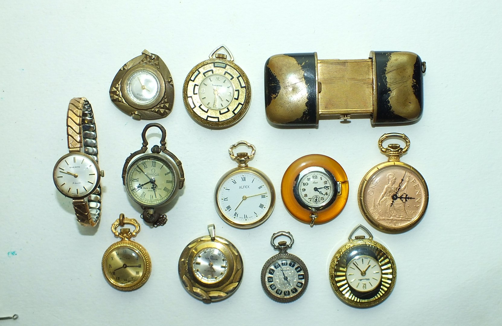Lot 242 - Laco, a chinoiserie purse watch, (a/f), ten ladies small fob watches, (all a/f) and a ladies Everite