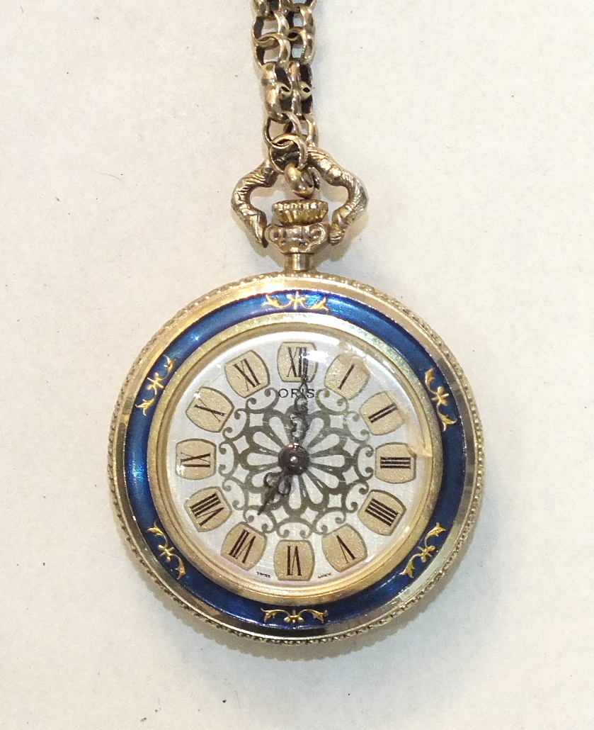 Lot 204 - A gold fancy-link neck chain, 8.2g, with a gold-plated and enamelled Oris watch.