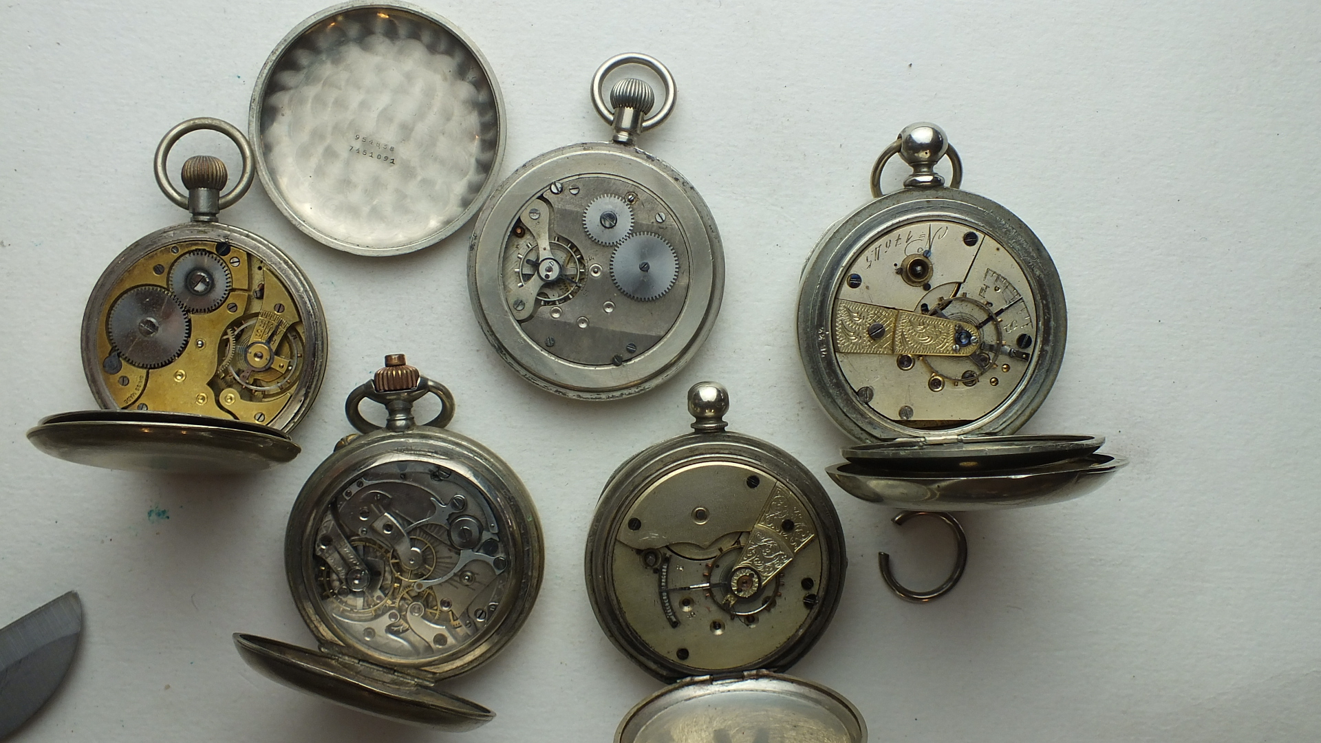Lot 249 - Five various steel-cased open-face pocket watches, (all a/f), (5).