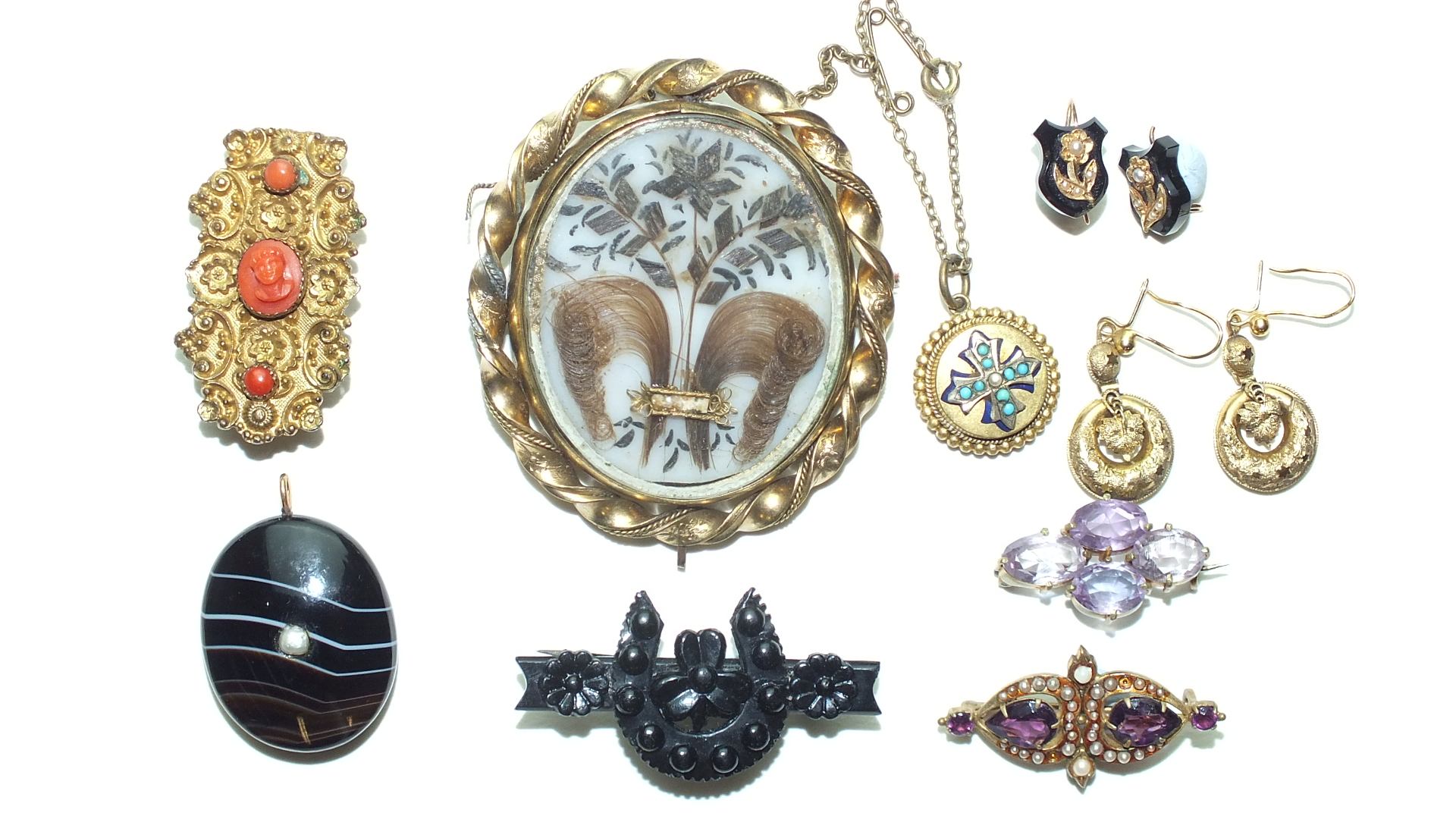 A 19th century gilt metal brooch set coral, a banded pendant, a gilt metal swivel brooch and other - Image 2 of 2