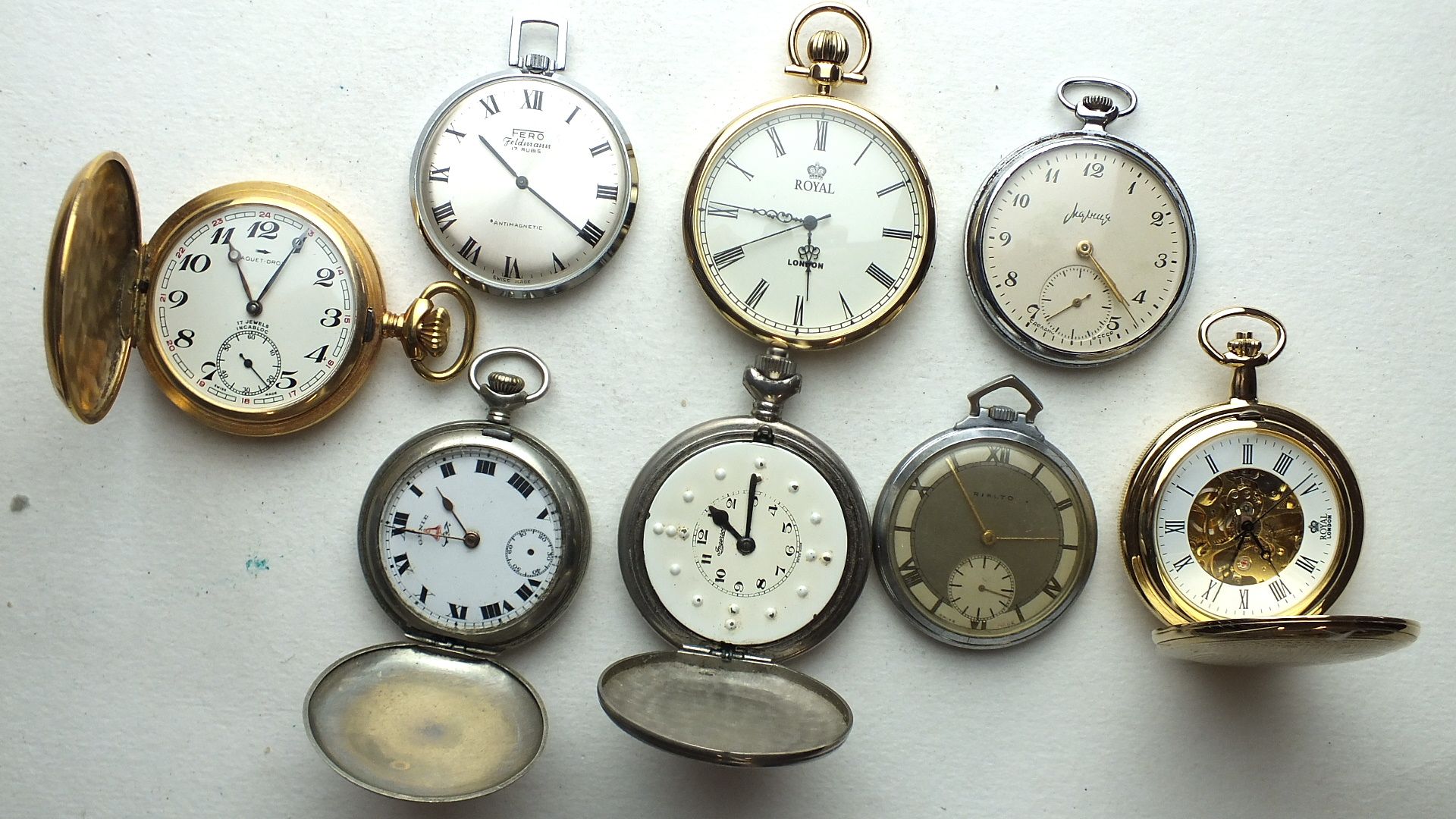 Lot 250 - Eight 20th century pocket watches, including Rialto, Fero-Feldmann and a hunter-cased Braille watch,