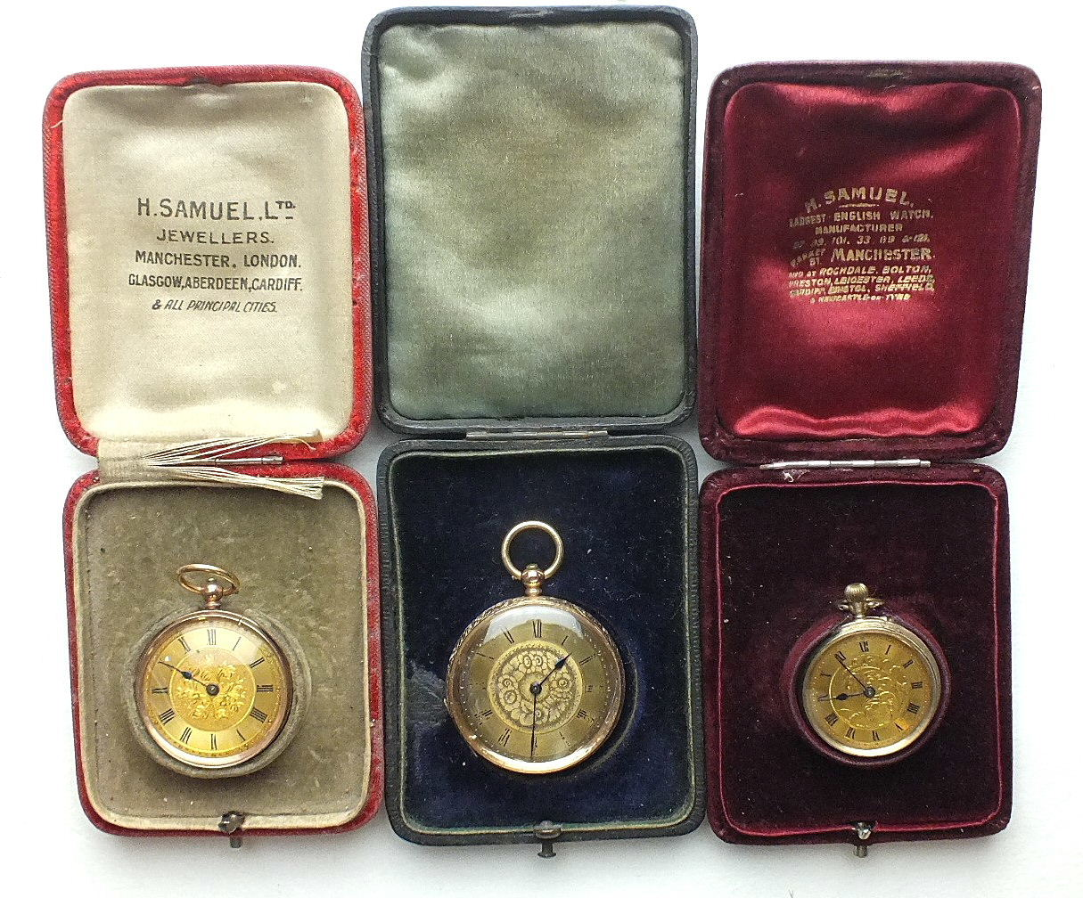 Lot 243 - A ladies Continental 14k-gold-cased open-face key-wind pocket watch, a smaller 9k-cased watch and