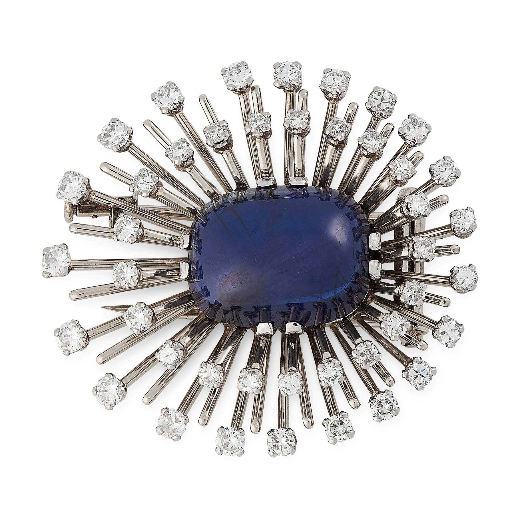 A BURMA NO HEAT SAPPHRIE AND DIAMOND BROOCH in 18ct white gold, set with a cushion shaped cabochon
