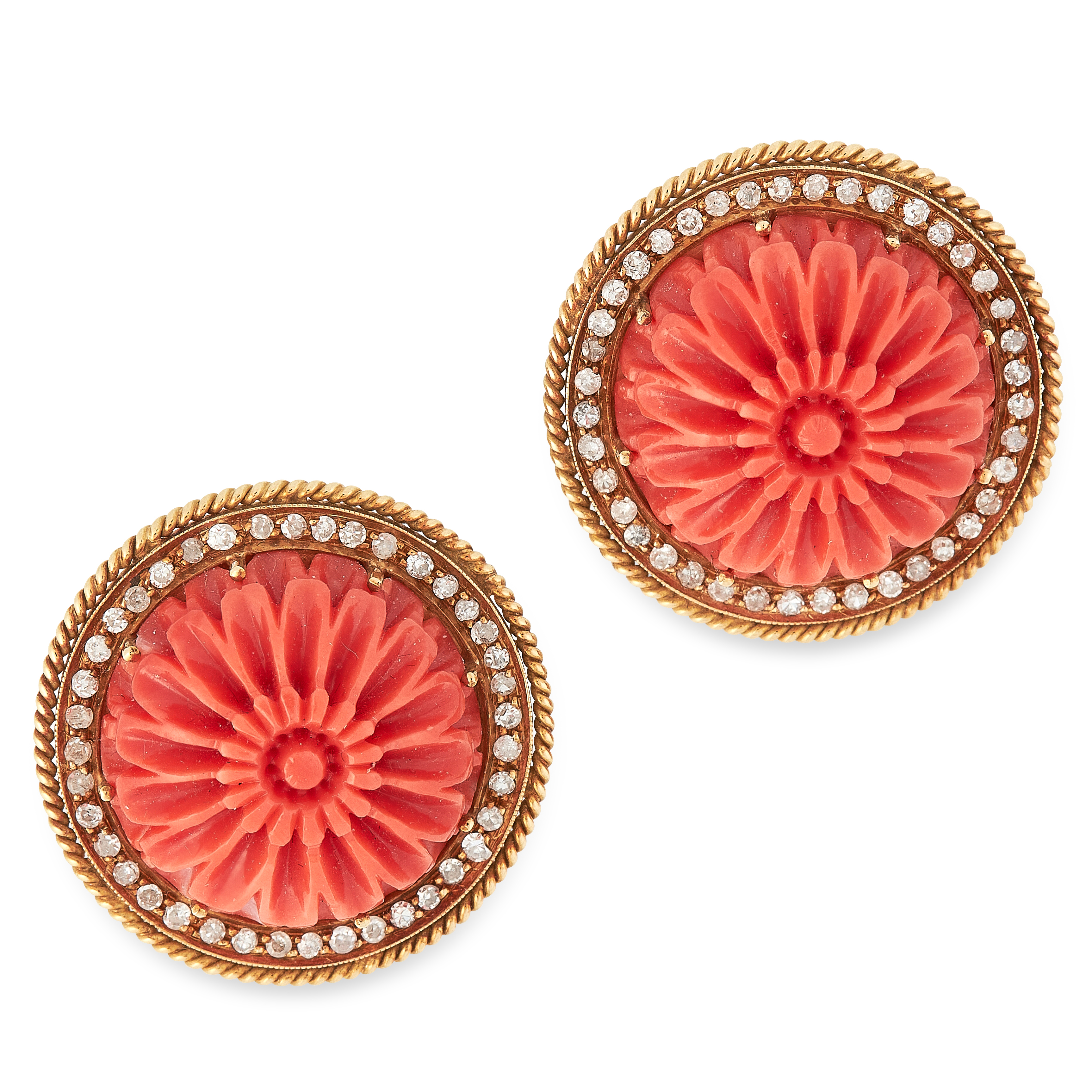 A PAIR OF CARVED CORAL AND DIAMOND EARRINGS in 18ct yellow gold, each set with a circular piece of