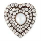 AN ANTIQUE PEARL AND DIAMOND BROOCH, 19TH CENTURY in yellow gold and silver, in the form of a heart,