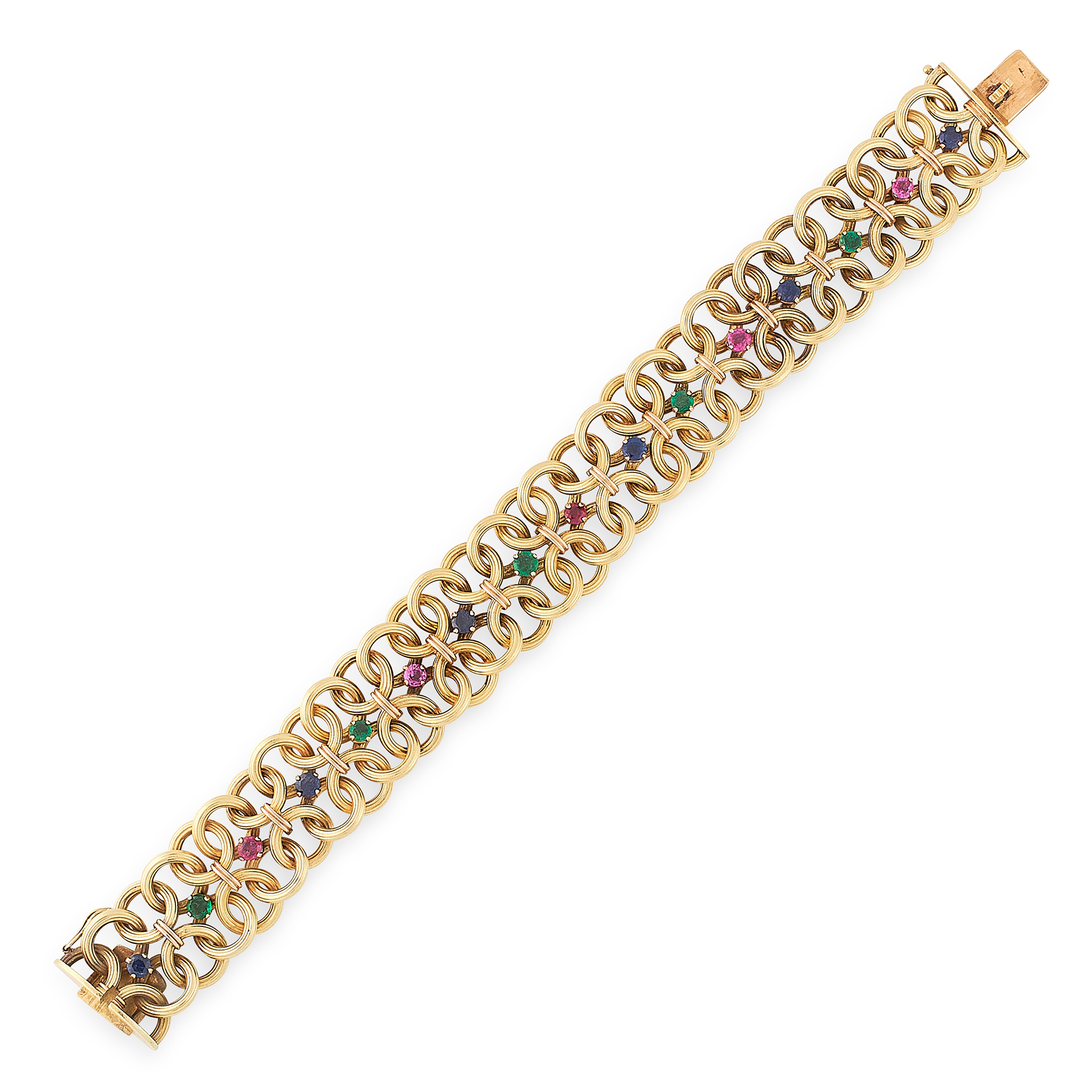 A VINTAGE RUBY, EMERALD AND SAPPHIRE BRACELET, CARTIER 1967 in 18ct yellow gold, designed as a