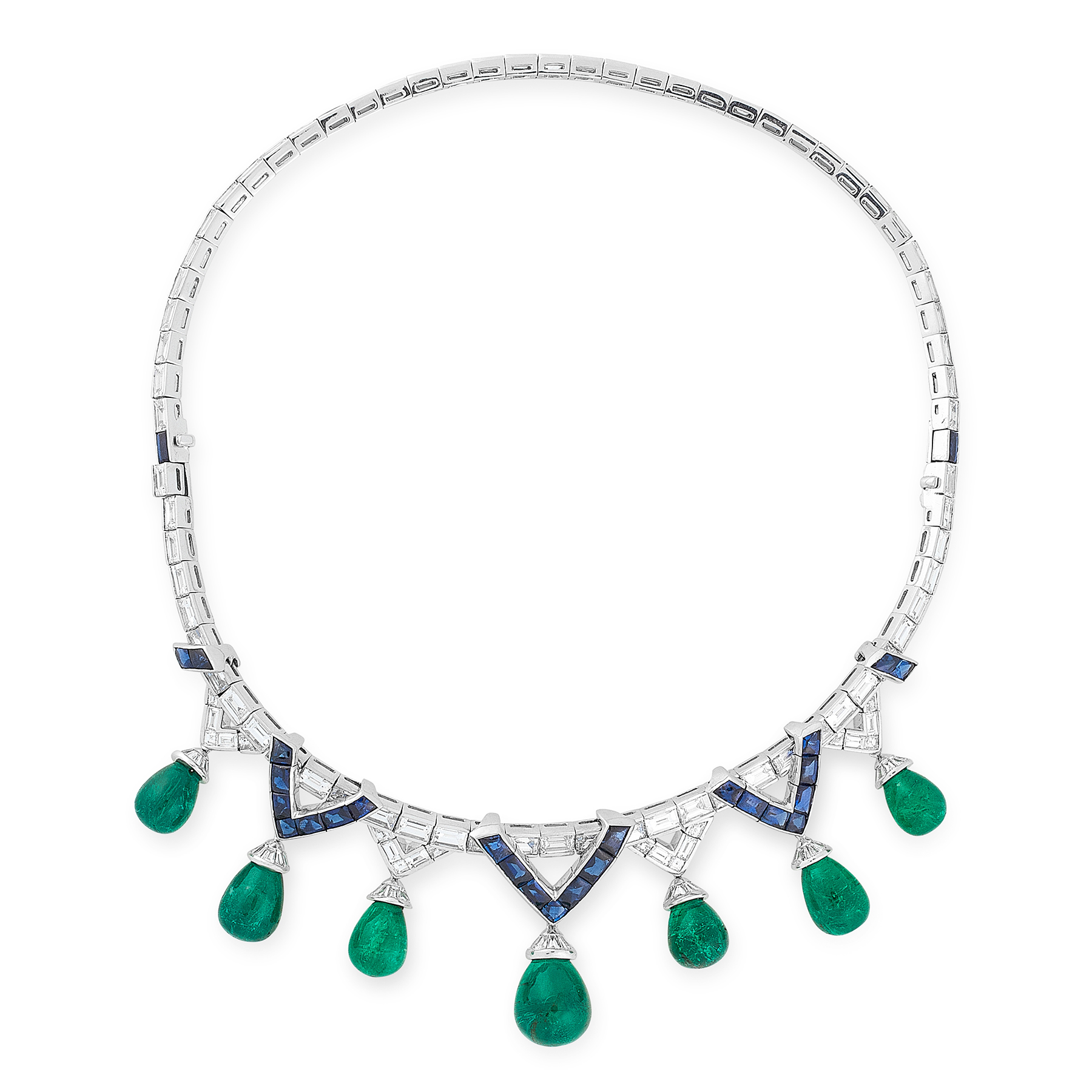 AN EMERALD, SAPPHIRE AND DIAMOND NECKLACE, MICHELE DELLA VALLE comprising a row of graduated step