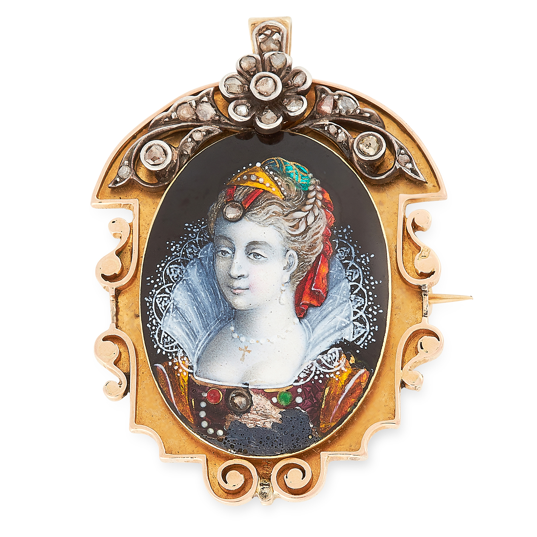 AN ANTIQUE ENAMEL AND DIAMOND PORTRAIT BROOCH / PENDANT in yellow gold, set with an oval enamel