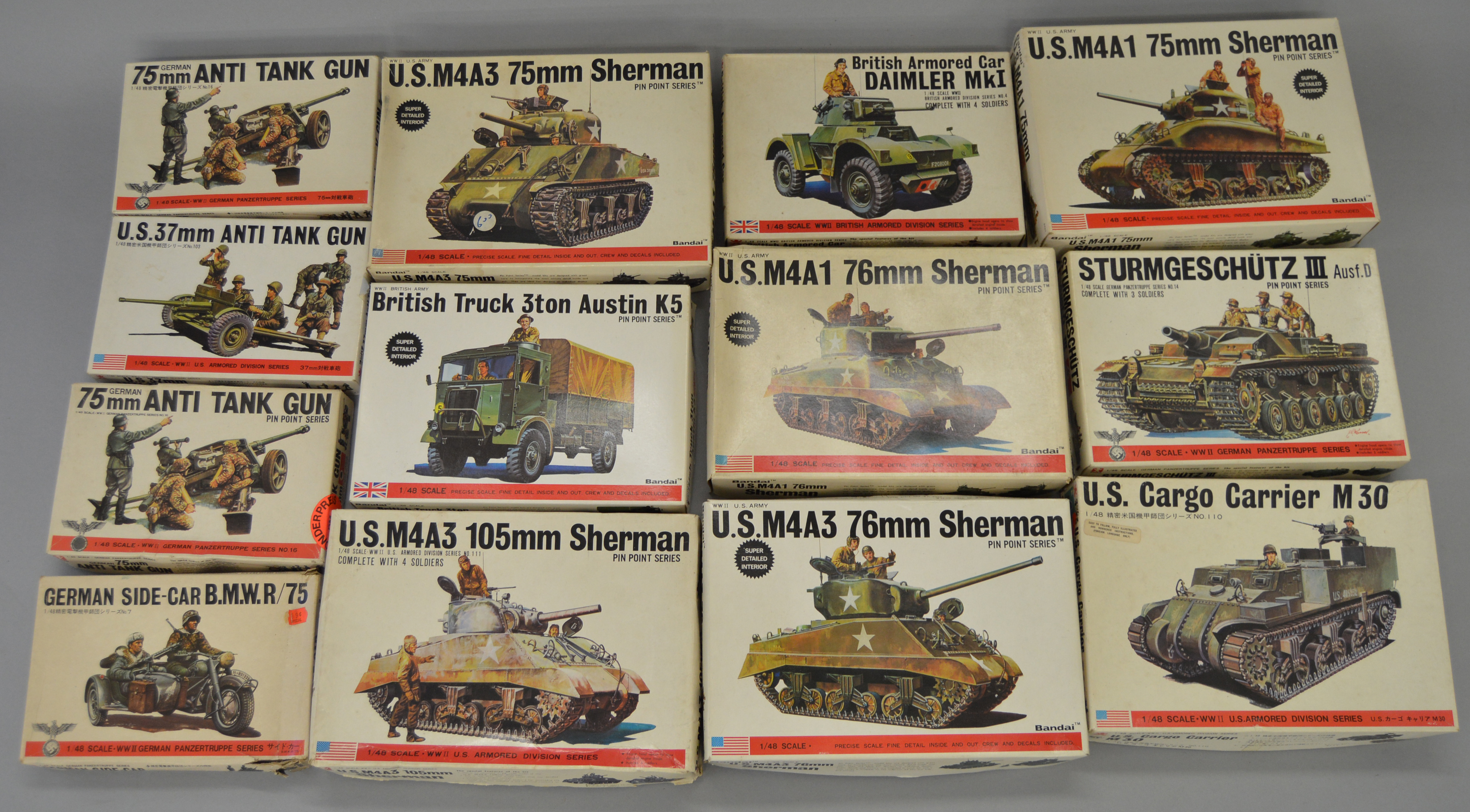 13 x Bandai 1:48 scale military model kits  Viewing recommended