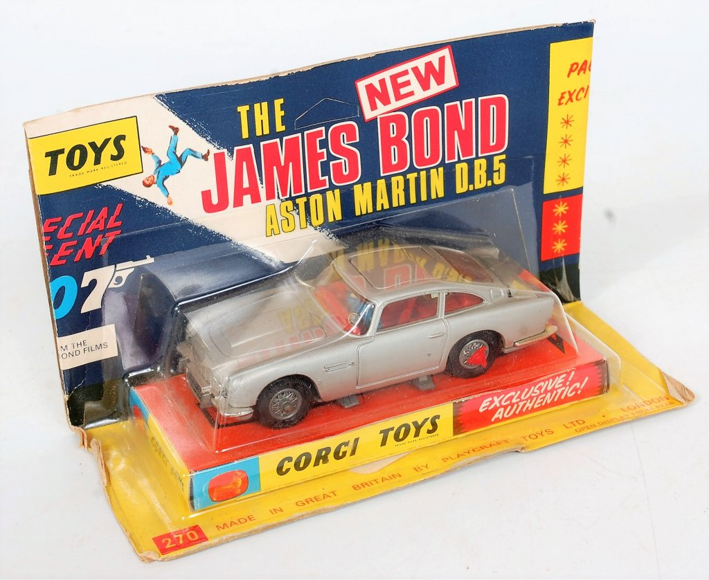 Corgi Toys, 270 James Bond NEW Aston Martin DB5, silver (larger body than 261),