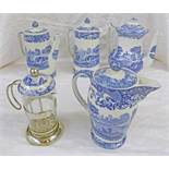COPELAND SPODE ITALIAN BLUE & WHITE WARE COFFEE POTS, WATER JUGS,