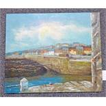 UNFRAMED OIL PAINTING OF PITTENWEEM HARBOUR SIGNED LAMBERT 51 X 61CM