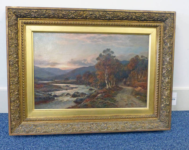 ALLAN RAMSAY EVENING IN GLENESK SIGNED & DATED 1896 GILT FRAMED OIL PAINTING 34 X 52 CMS
