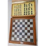 MAHOGANY FRAMED CHESS BOARD & CASED CHESS SET