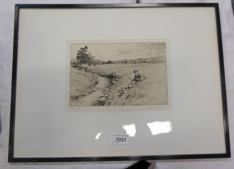 JACKSON SIMPSON, THE BURNSIDE, SIGNED IN PENCIL, FRAMED ETCHING 16 X 23.