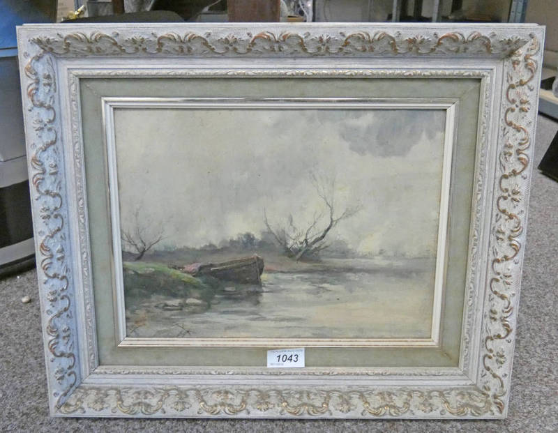 ATTRIBUTED TO W. FRASER BOAT ON RIVER BANK FRAMED OIL PAINTING UNSIGNED OLD LABEL TO REAR 23.5 X 31.
