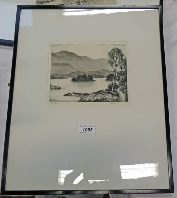 JOHN FULWOOD LOCH ACHRAY SIGNED IN PENCIL FRAMED ETCHING 17 X 20CM