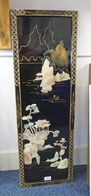 ORIENTAL LACQUER PICTURE WITH MOTHER OF PEARL DECORATION OVERALL SIZE - 91 CMS X 30 CMS