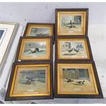 6 FRAMED COLOURED BOOK PLATES ON COCK FIGHTING