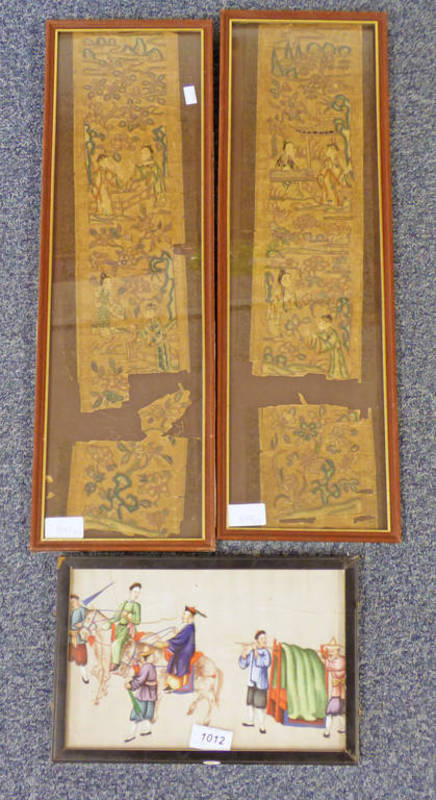 FRAMED CHINESE PAINTING ON RICE PAPER FIGURES & HORSES - 17 X 26 CMS AND 2 FRAMED EASTERN SEWN