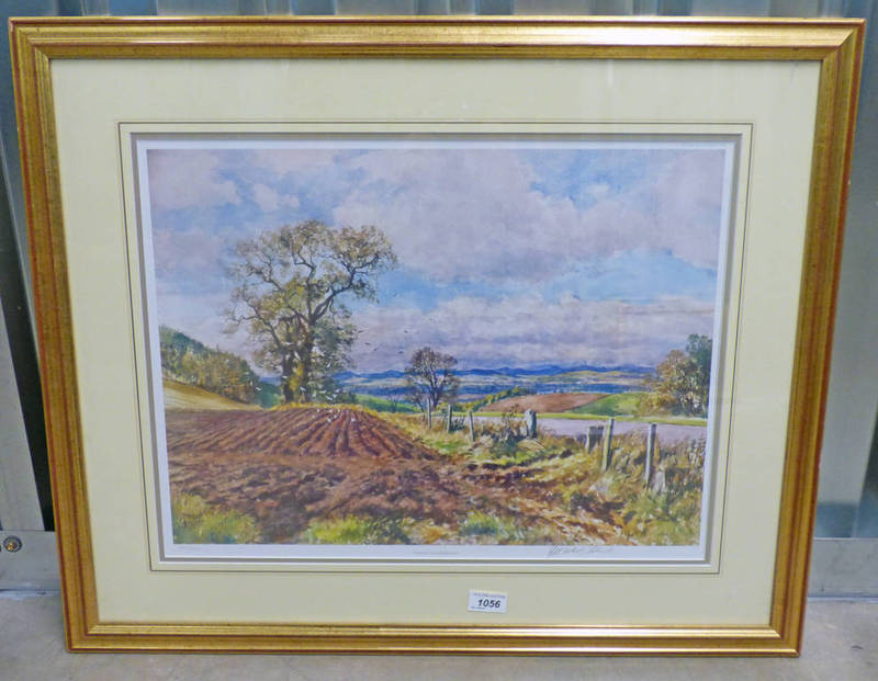 MCINTOSH PATRICK FURROWS AT TULLYBACCART SIGNED FRAMED PRINT 39 X 52 CM