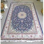 BLUE GROUND KESHAN CARPET 300 X 200CM Condition Report: fading. Pile very thin.