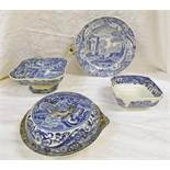 19TH CENTURY SPODE BLUE & WHITE WARMING PLATE,