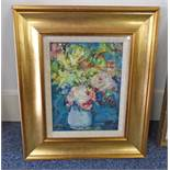 HAMISH LAWRIE - (ARR) STILL LIFE FLOWERS IN VASE SIGNED GILT FRAMED OIL PAINTING 27.