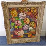 DONALD BAIN - (ARR) FLOWERPIECE FRAMED OIL PAINTING SIGNED 59 X 48 CMS Condition Report: