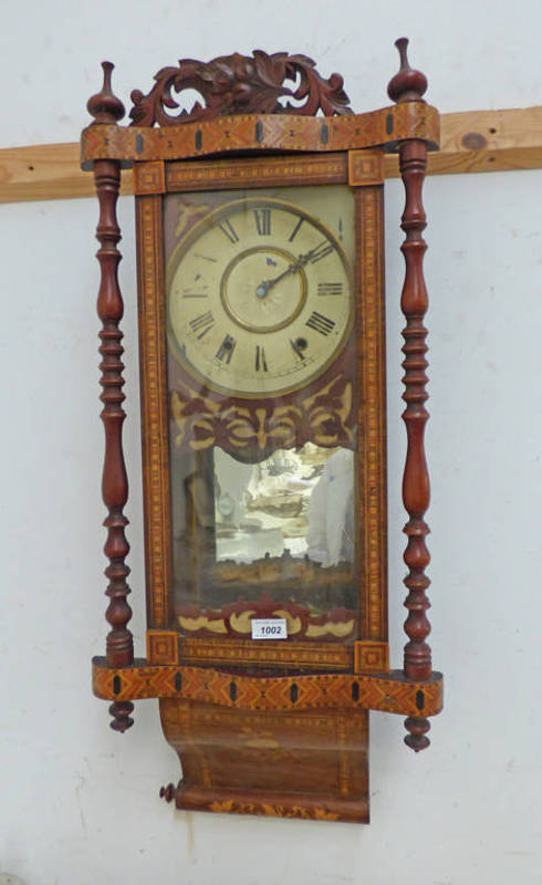 EARLY 20TH CENTURY PARQUETRY INLAID WALL CLOCK