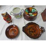 SCOTTISH POTTERY SPITTOON, BISHOP POTTERY DOUBLE HANDLED CUP,