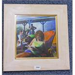 DOD DOW , - (ARR) READING BY THE POOL, SIGNED TO REVERSE, FRAMED CHALK PASTEL,