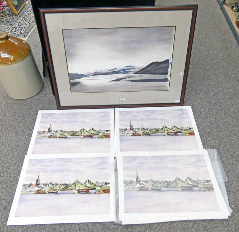 FRAMED WATERCOLOUR 'ACROSS LOCH TAY' BY MARY-ANNIE BURN, SIGNED,