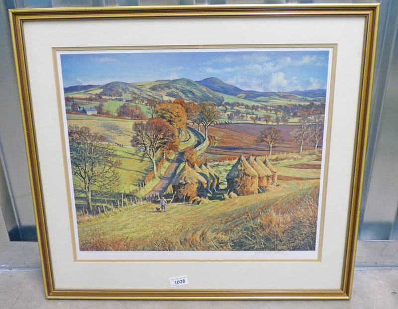 MCINTOSH PATRICK CORN STACKS SIGNED FRAMED PRINT 40 X 49 CM