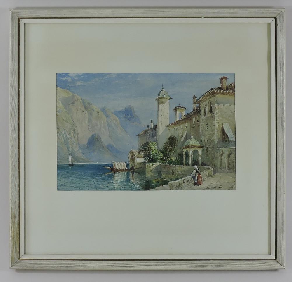 Lot 438 - William Collingwood Smith, (1815-1887), Lake Orta, signed watercolour, 19 x 29cm,