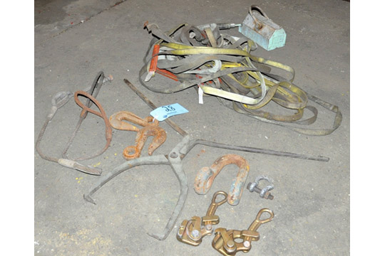 Lot 28 - Lot-Lifting Strap Slings with Hooks and Material Grabs