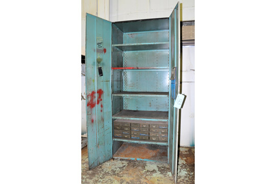 Lot-Desk, Shelving Unit, Steel Stand and 2-Door Cabinet with