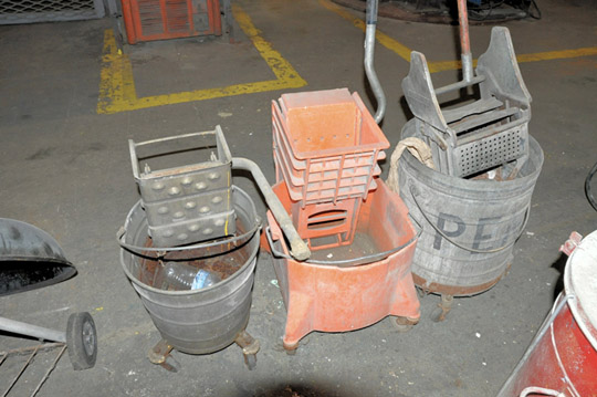 Lot-(3) Mop Buckets, (2) Fans, Rag Can, Portable Grill, Heater and - Image 3 of 6