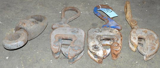 Lot 30 - Lot-(2) 5-Ton and (1) 4-Ton Sheet Stock Material Grabs with Hoist Sling Ring Adaptor