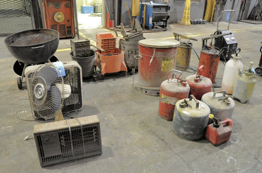 Lot-(3) Mop Buckets, (2) Fans, Rag Can, Portable Grill, Heater and