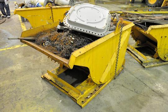 Lot 45 - Stationary Dump Hopper with Scrap Metal Contents